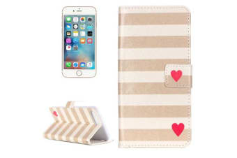 For iPhone 8 PLUS 7 PLUS Wallet Case Brown White Stripe  Red Heart Durable Cover