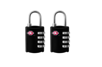 2 PCS 4 Digit Combination Steel Padlocks Approved Travel Luggage Lock for Suitcases & Baggage