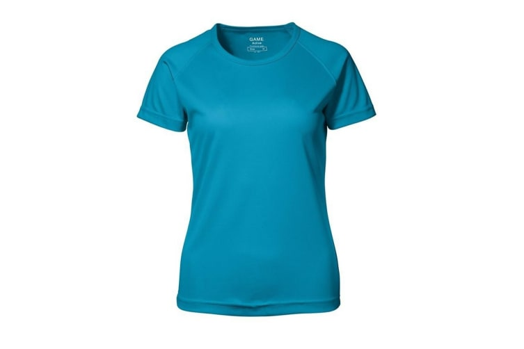 ID Womens/Ladies Game Active Short Sleeve Fitted T-Shirt (Cyan) (XL)