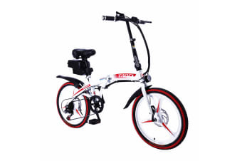"TAOCI 350W 36V Folding Electric Bike 20"" eBike Road w/ Removable Battery Steel Frame Red"