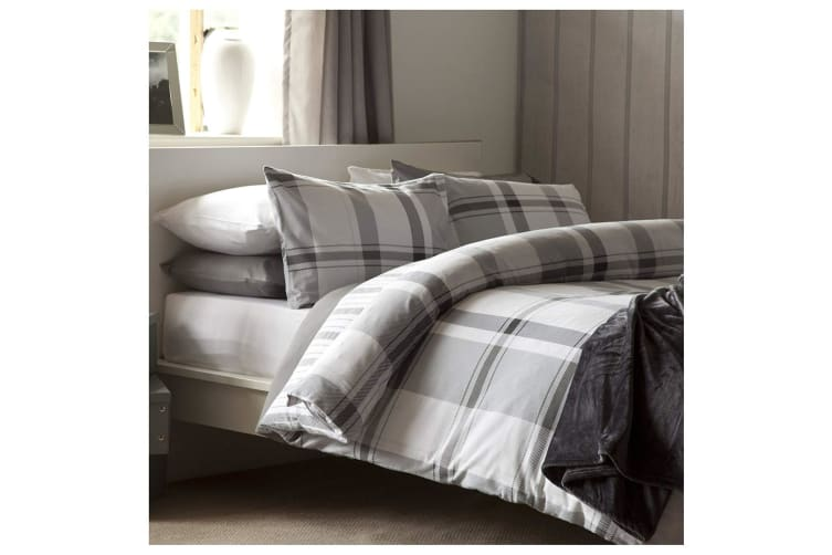 Belledorm Boston Check Duvet Cover Set (Grey) (Superking)