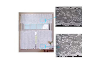 3 Pce Cafe Butterfly Lace Curtain Set
