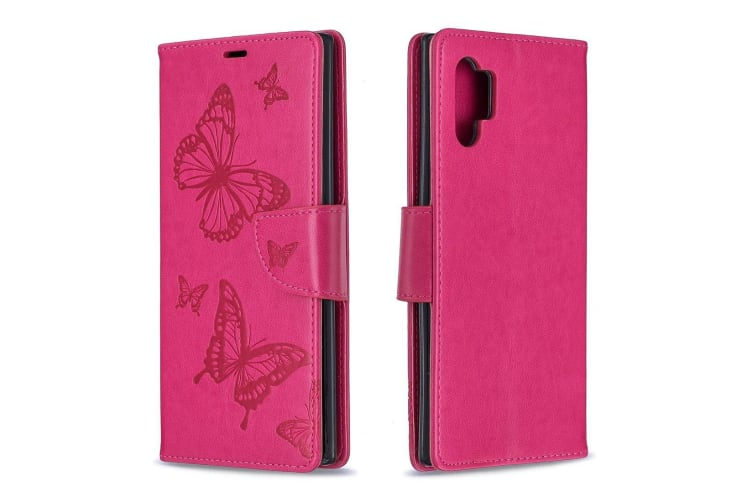 For Samsung Galaxy Note 10+ Case Rose Red Embossed Butterflies PU Leather Cover