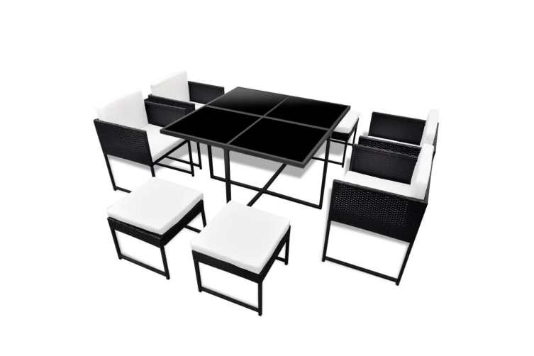 vidaXL 9 Piece Outdoor Dining Set with Cushions Poly Rattan Black