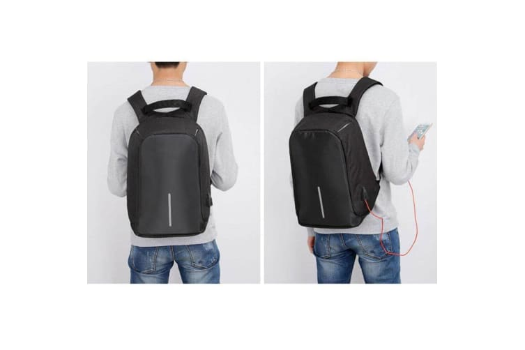 """Lenoxx Anti-Theft 15"""" Laptop Backpack w/USB Port for PowerBank Charger Black"""