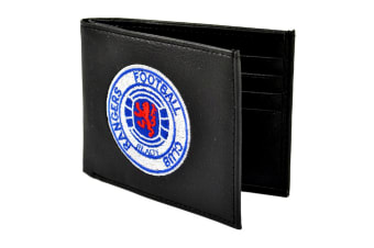Rangers FC Mens Official Leather Wallet With Embroidered Football Crest (Black)