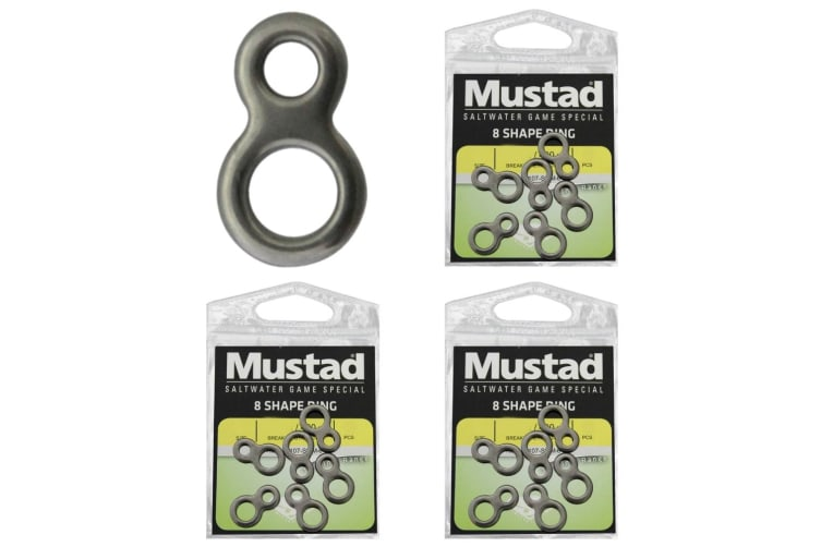 3 x Packets of Mustad Stainless Steel 8-Shaped Rings - Figure of Eight Fishing Rings - Size Small