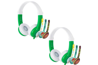 2x Buddyphones Connect Wired Headphones 3.5m w/Stickers/Microphone Kids 3y+ GRN
