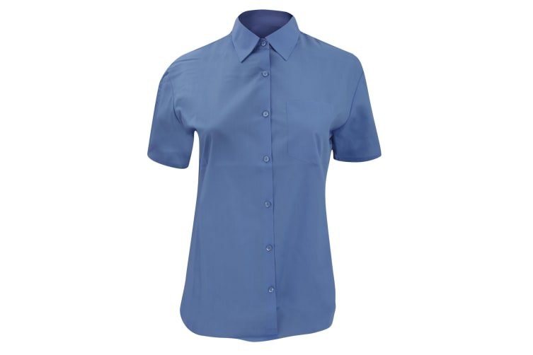 Russell Collection Ladies/Womens Short Sleeve Poly-Cotton Easy Care Poplin Shirt (Corporate Blue) (XS)