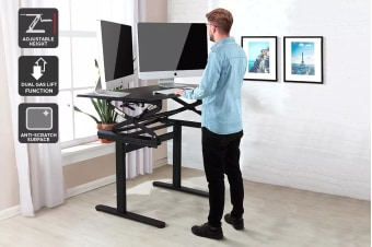 Ergolux DuoPro Height Adjustable Sit Stand Desk (Black)