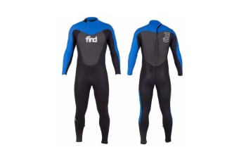 FIND™ Men's 3mm/2mm Flatlock Steamer Long Sleeve & Leg Neoprene Wetsuit with Knee Pads - Blue/Black - Small