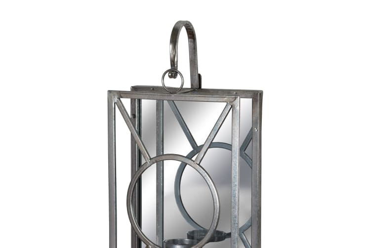Hill Interiors Antique Silver Rectangle Mirrored Tealight Holder (Silver) (One Size)