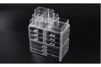 Cosmetic 9 Drawer Makeup Organizer Storage Jewellery Box Clear Acrylic Holder
