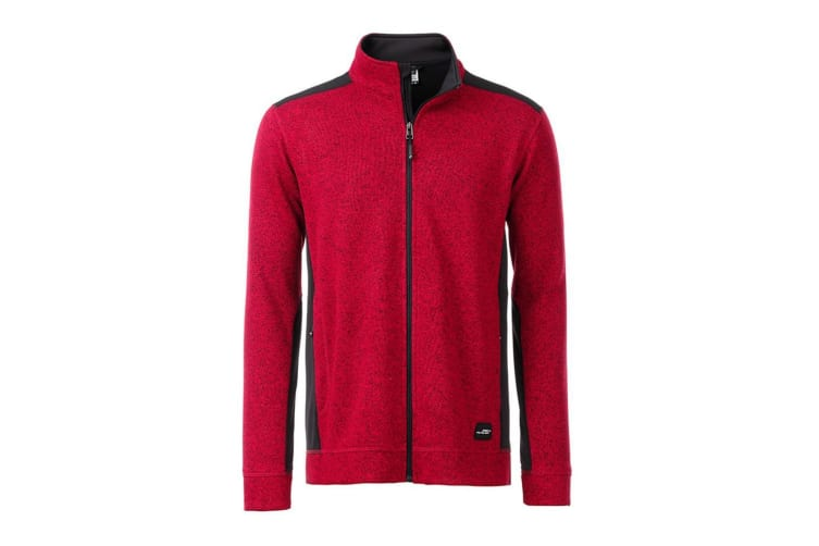 James and Nicholson Mens Knitted Workwear Fleece Jacket (Red Melange/Black) (3XL)