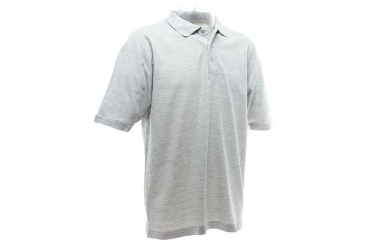 UCC 50/50 Mens Plain Piqué Short Sleeve Polo Shirt (Heather Grey) (XL)