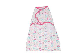 Playette Comfort Swaddle Wrap Bed Blanket/Quilt for Baby/Kids/Children Pink Owls