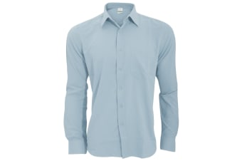 Henbury Mens Wicking Long Sleeve Work Shirt (Light Blue) (4XL)
