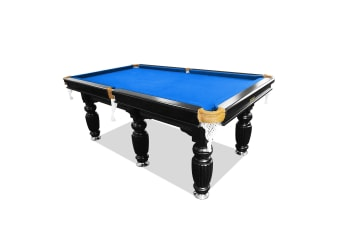 9FT Luxury Slate Pool Table Solid Timber Billiard Table Professional Snooker Game Table with Accessories Pack, Black Frame / Blue Felt