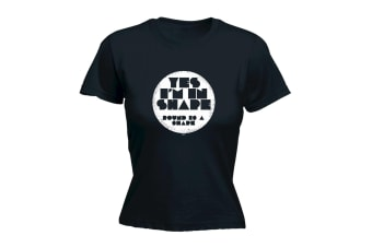 123T Funny Tee - Yes Im In Shape - (X-Large Black Womens T Shirt)