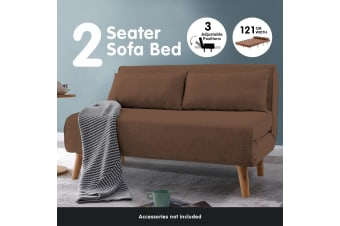 Adjustable Corner Sofa 2-Seater Lounge Linen Bed Seat - Brown