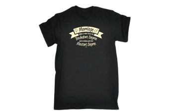 123T Funny Tee - Marriage When A Man Loses His Bachelors Degree - (Large Black Mens T Shirt)