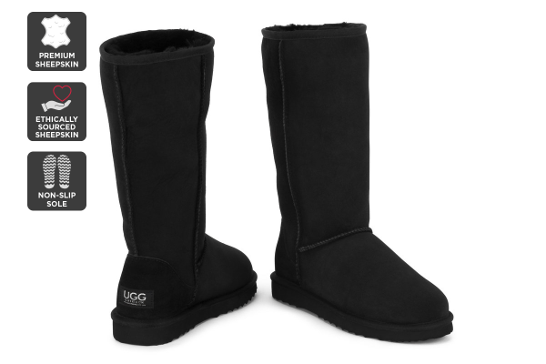 Outback Ugg Boots Long Classic - Premium Sheepskin (Black, Size 7M / 8W US)
