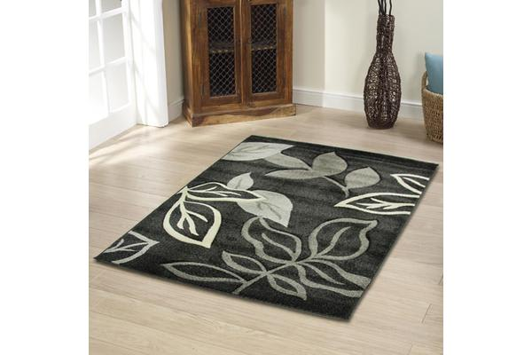 Stunning Thick Leaf Rug Charcoal 290x200cm