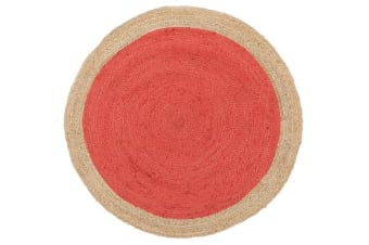 Round Jute Natural Rug Cherry 120x120cm