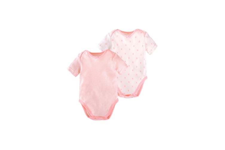 2Pcs Baby Short Sleeve Bodysuits Organic Cotton Short Sleeve One-Pieces - Pink Pink 70