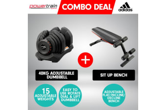 40kg Powertrain Adjustable Dumbbell  Home Gym w/ Adidas Bench 10230