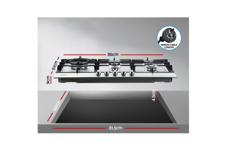 Gas Cooktop 90cm Kitchen Stove Cooker 5 Burner Stainless Steel NG/LPG