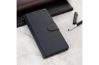 For Samsung Galaxy NOTE 9 Case Fashion Navy Cowhide Genuine Leather Slim Wallet