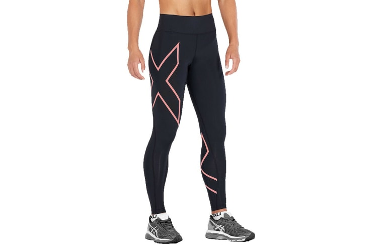 2XU Women's Bonded Mid-Rise Tights (Black/Candlelight Peach, Size XL)