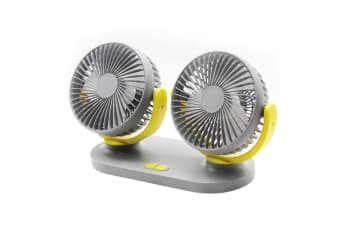 Vehicle Fan General Motors Small Electric Fan With Two Heads And Shaking Heads - Grey Yellow Grey