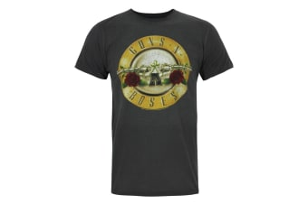 Amplified Official Mens Guns N Roses Foil Drum T-Shirt (Charcoal/Gold)