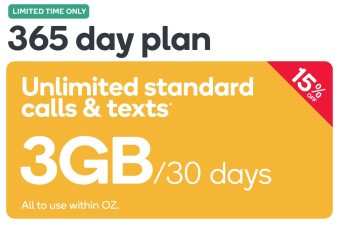 Kogan Mobile Prepaid Voucher Code: SMALL (365 Days | 3GB Per 30 Days) - April Promotion