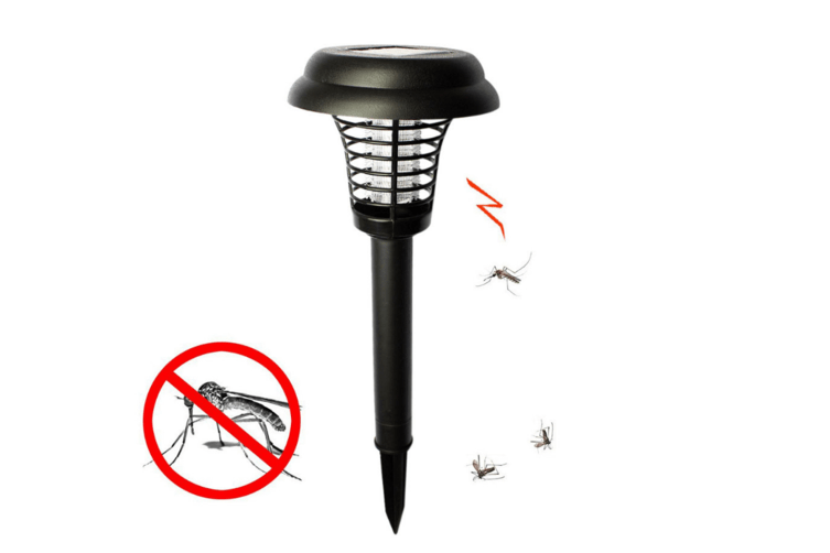 4PC Solar Powered Light, Mosquito and Insect Bug Zapper-LED/UV Radiation Outdoor Stake Landscape Fixture for Gardens, Pathways, and Patios