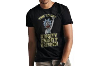 Rick And Morty Unisex Adults Riggity Wrecked T-Shirt (Black) (XXL)