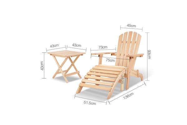 5 Piece Adirondack Beach Chair with Footrest and Table Set