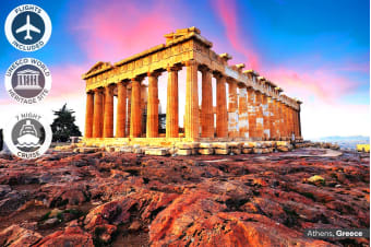 EUROPE: 20 Day Highlights of Italy & Greece Including 7 Nights Mediterranean Cruise + Flights for Two