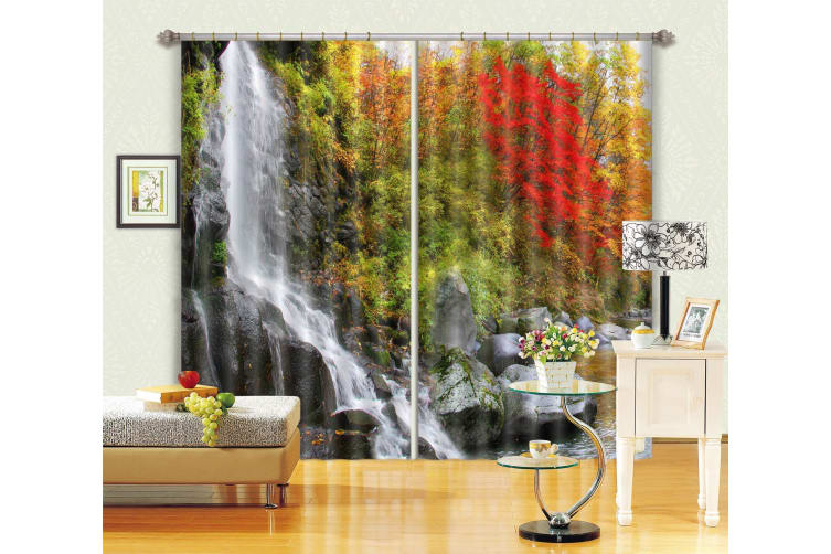 3D Waterfall Color Trees 194 Curtains Drapes, 264cmx160cm(WxH) 104''x 63''