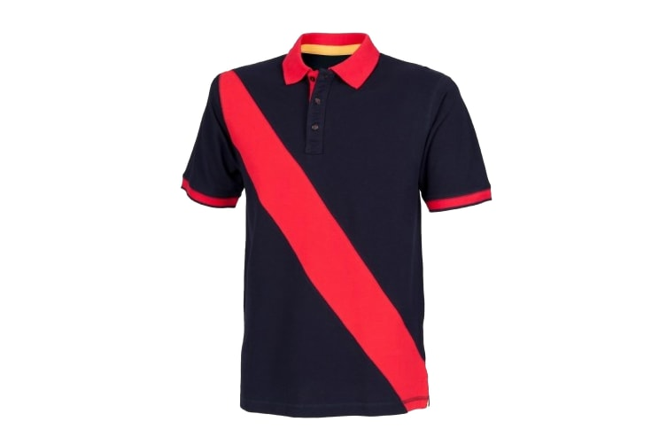 Front Row Mens Diagonal Stripe House Slim Fit Polo Shirt (Navy/ Red) (XS)