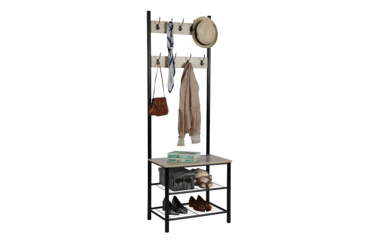 Ovela Hallway 9 Hook Coat Rack (Black)
