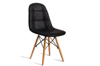 PU Leather Padded Eames Dining Chairs in BLACK 4pcs