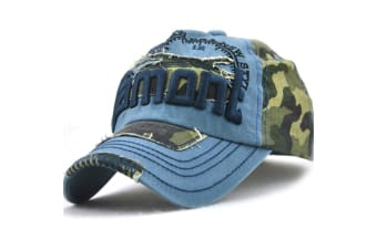 Camo Distressed Baseball Cap Embroidery Curved Bill Dad Hat Cotton Strapback Blue