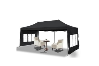 3x6m Pop Up Gazebo Folding Marquee in Black