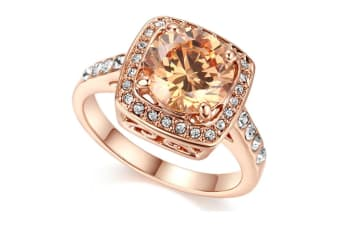 Shinning Cubic Zirconia Topaz Rings For Women 18K Rose Gold Plated 7