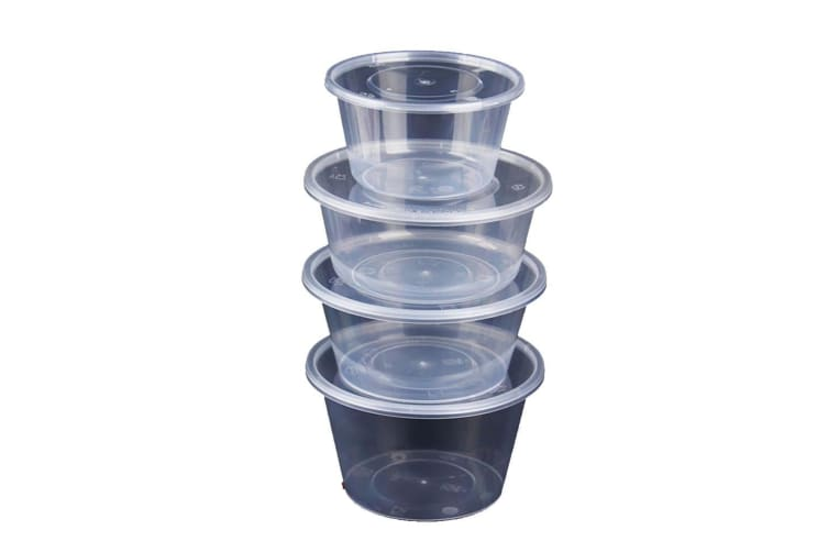 Take Away Containers Takeaway Food Plastic Round Sauce Bulk 750ML  -  100pcs(50 Base + 50 Lids)750ML