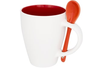 Bullet Nadu Ceramic Mug With Spoon (Pack of 2) (Red) (One Size)