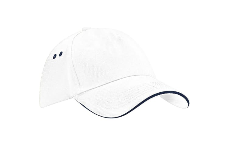 Beechfield Unisex Ultimate 5 Panel Contrast Baseball Cap With Sandwich Peak / Headwear (Pack of 2) (White/French Navy) (One Size)